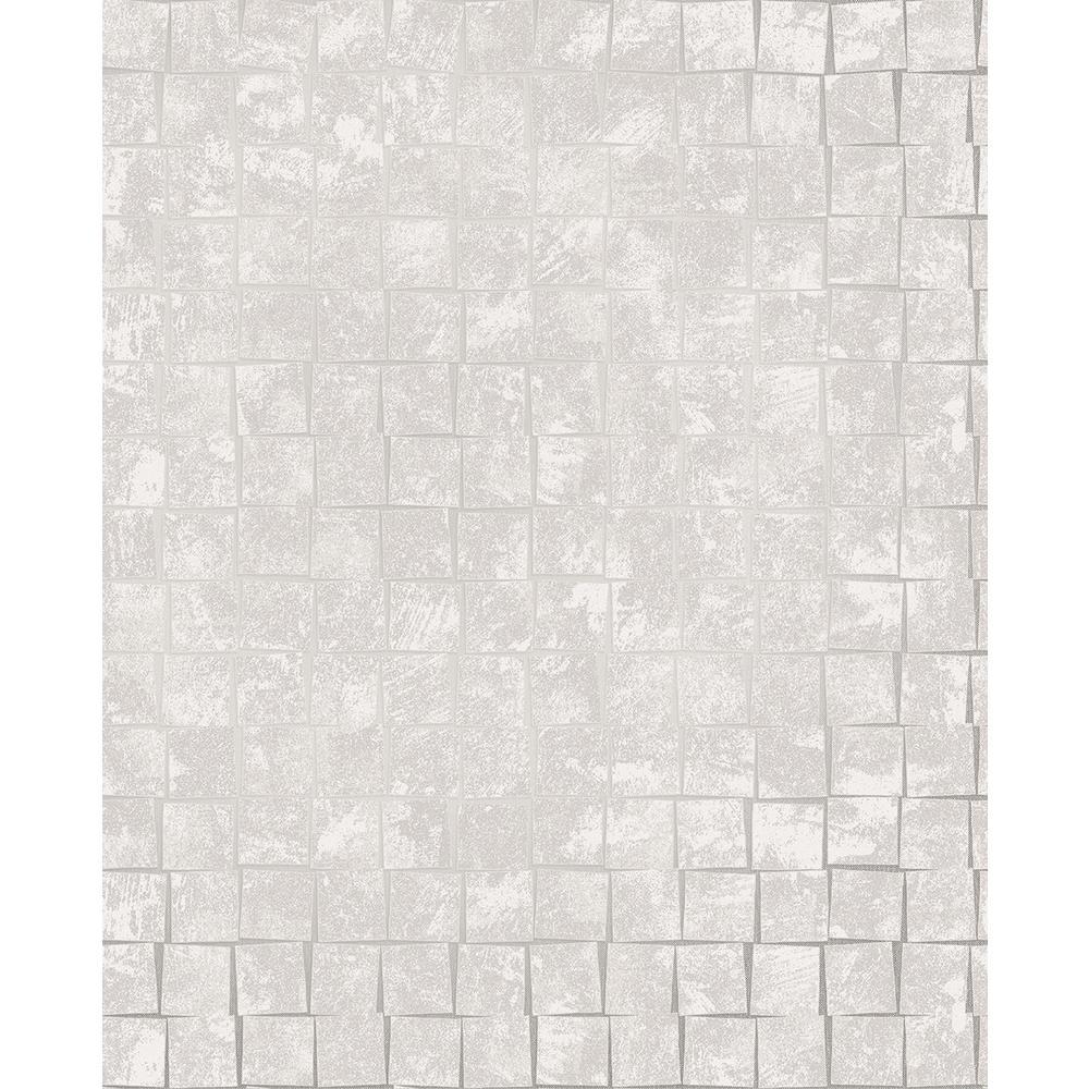 Brewster Dagmar Light Grey Medium Squares Wallpaper 2704-23001