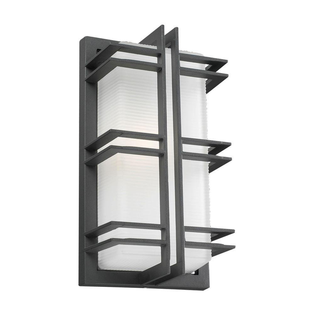 PLC Lighting 1-Light Outdoor Bronze Wall Sconce with Frost Glass