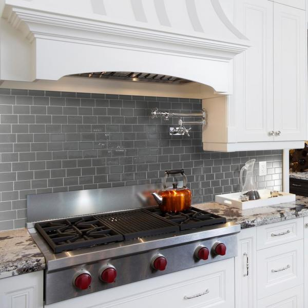Smart Tiles Metro Grigio Dark Grey 11 56 In W X 8 38 In H Peel And Stick Decorative Mosaic Wall Tile Backsplash 4 Pack Sm1064 4 The Home Depot