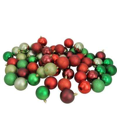 2.5 in. Red/Burgundy/Xmas Green/Celadon Shatterproof 3-Finish Christmas Ball Ornaments (60-Count)