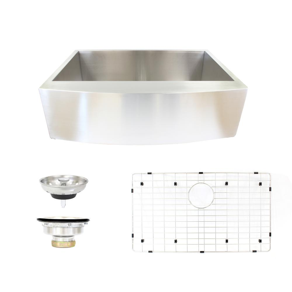 Farmhouse Apron Front Stainless Steel 33 in. Single Bowl Kitchen Sink