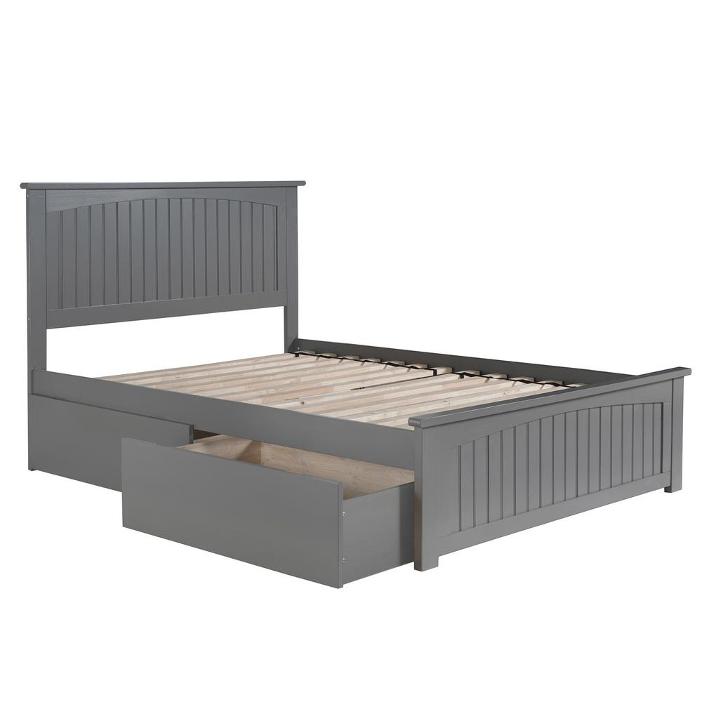 Atlantic Furniture Nantucket Full Platform Bed With Matching Foot Board With 2 Urban Bed Drawers In Grey