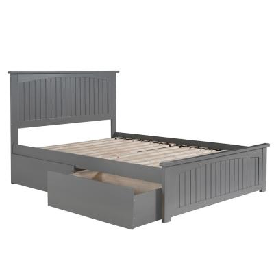 Nantucket Full Platform Bed with Matching Foot Board with 2 Urban Bed Drawers in Grey