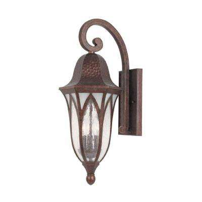 9 in. Burnished Antique Copper Outdoor Wall Sconce with Clear Seedy Glass