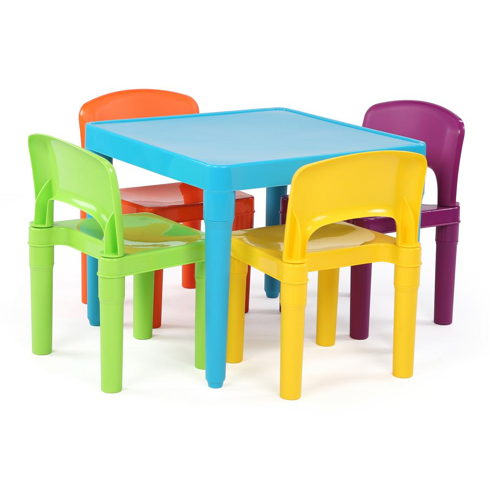 tot tutors playtime 5 piece aqua kids plastic table and chair set tc657 the home depot. Black Bedroom Furniture Sets. Home Design Ideas