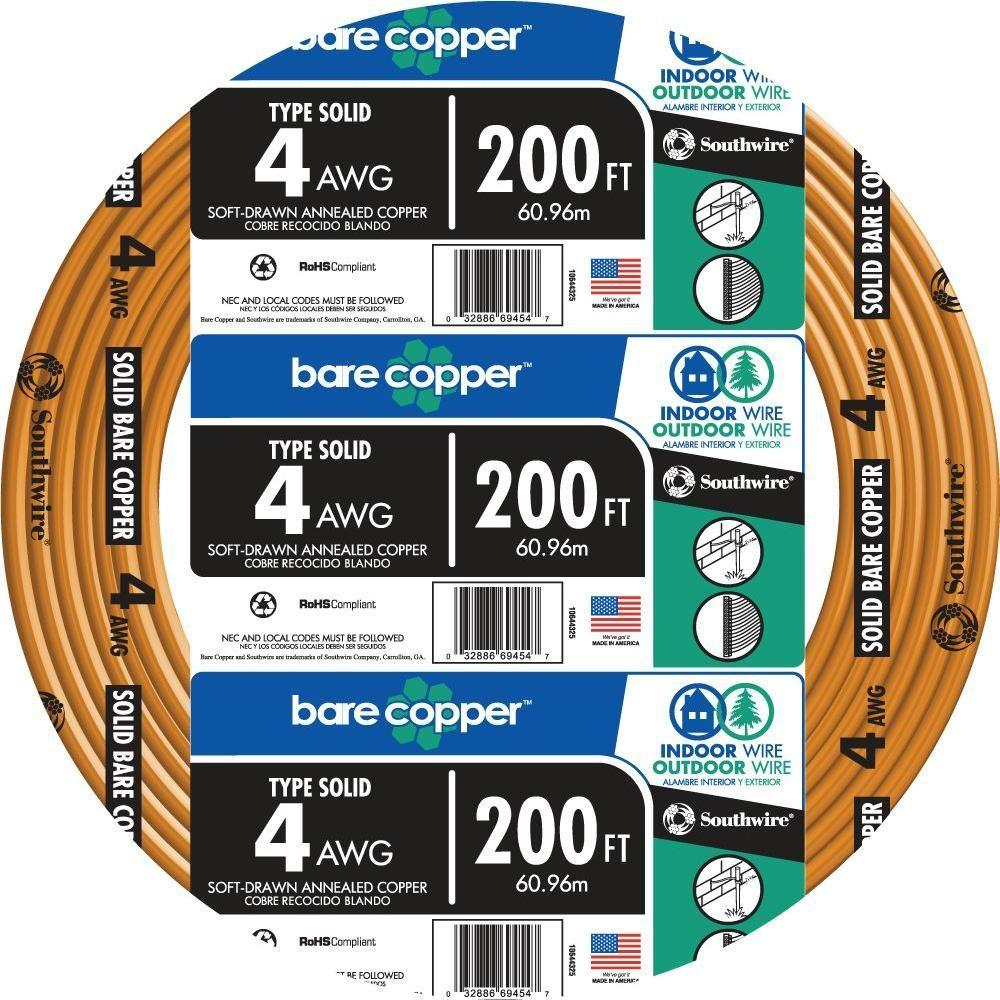 Southwire 198 ft. 4-Gauge Stranded SD Bare Copper Grounding Wire ...