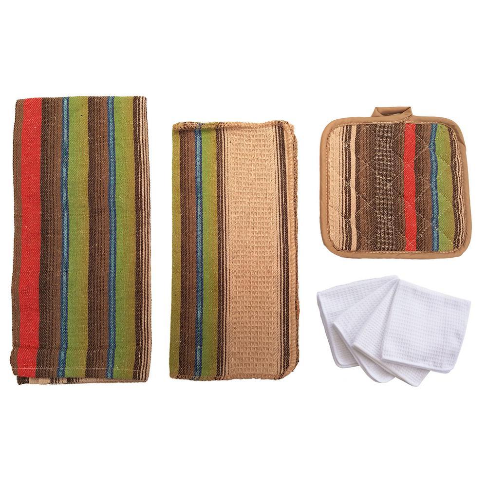 Home Basics Malibu Kitchen Towel Set in Cafe Color (8-Piece) by Home Basics