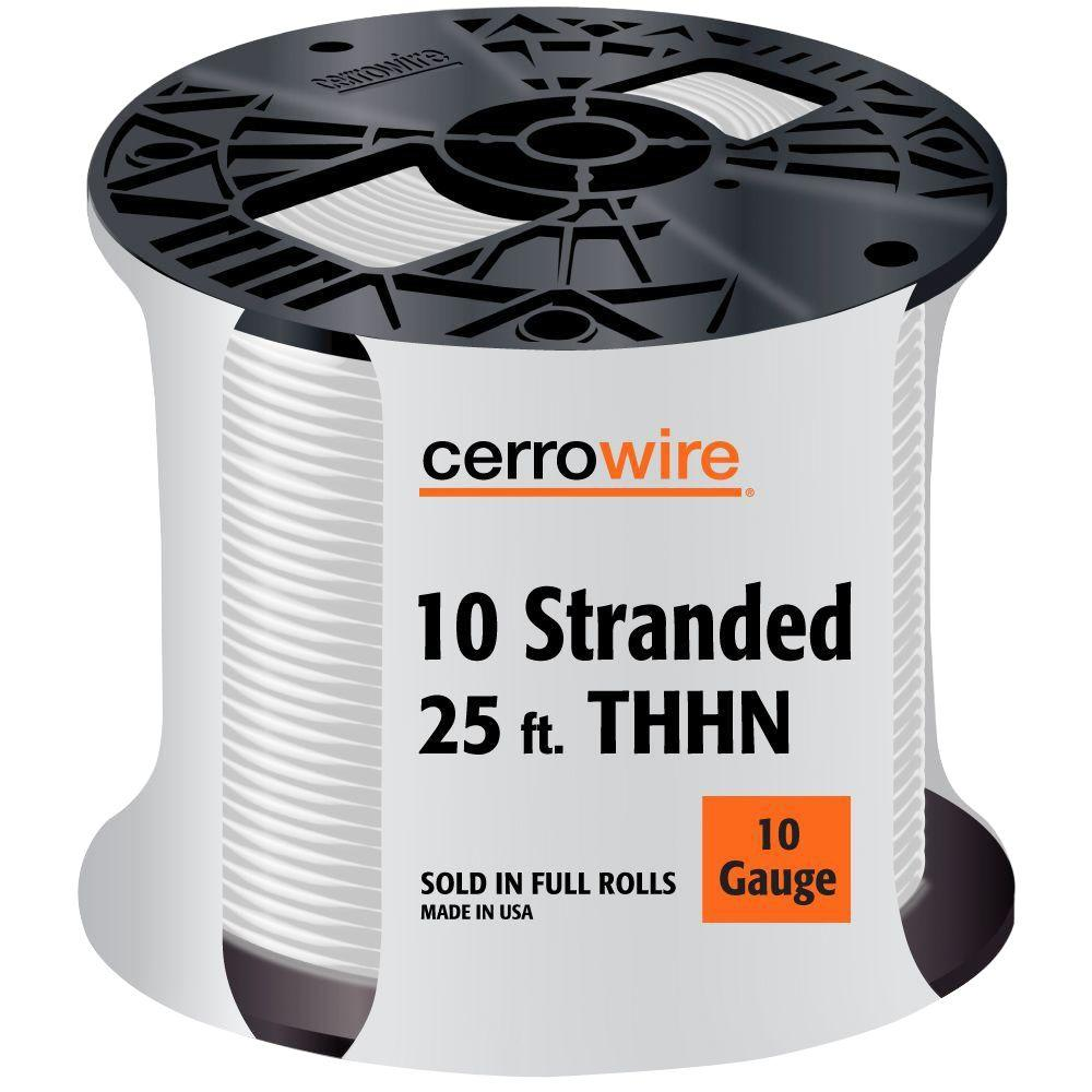 Cerrowire 25 ft. 10/19 White Stranded THHN Wire-112-3802A - The Home ...