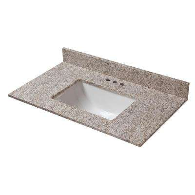 37 in. W x 19 in. D Granite Vanity Top in Golden Hill with White Trough Basin