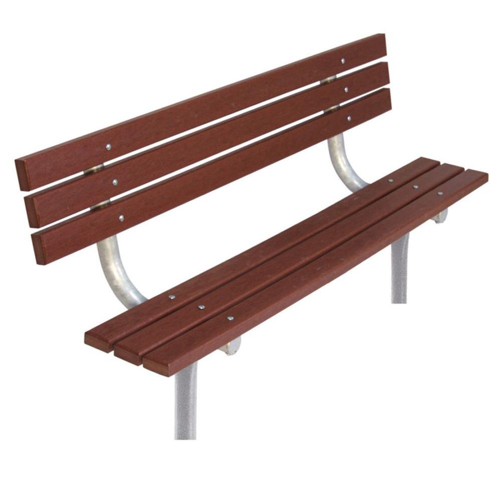 6 ft. Brown Commercial Park In-Ground Recycled Plastic Bench with Back