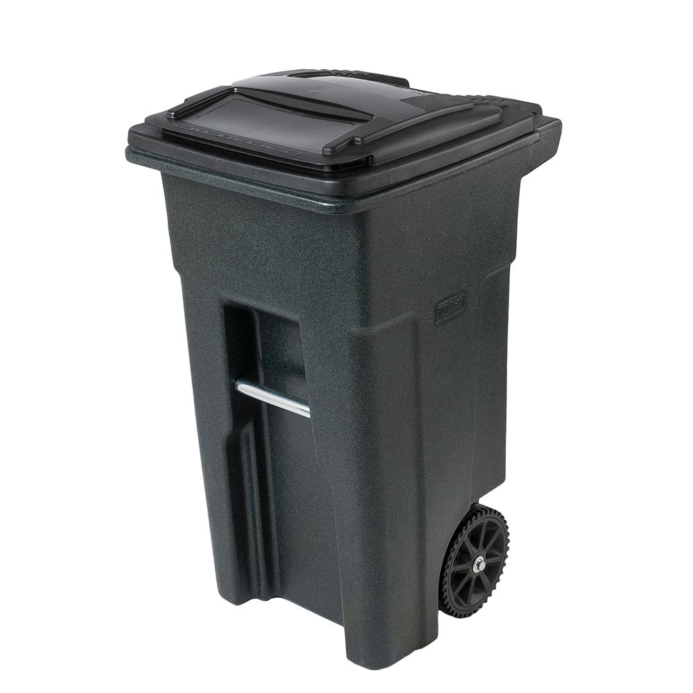 Toter Toter 32 Gal. Greenstone Trash Can with Wheels and Attached Lid