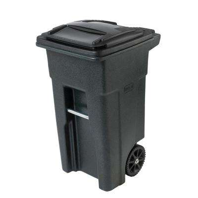 Groovy 32 Gal Greenstone Trash Can With Wheels And Attached Lid Interior Design Ideas Gentotthenellocom