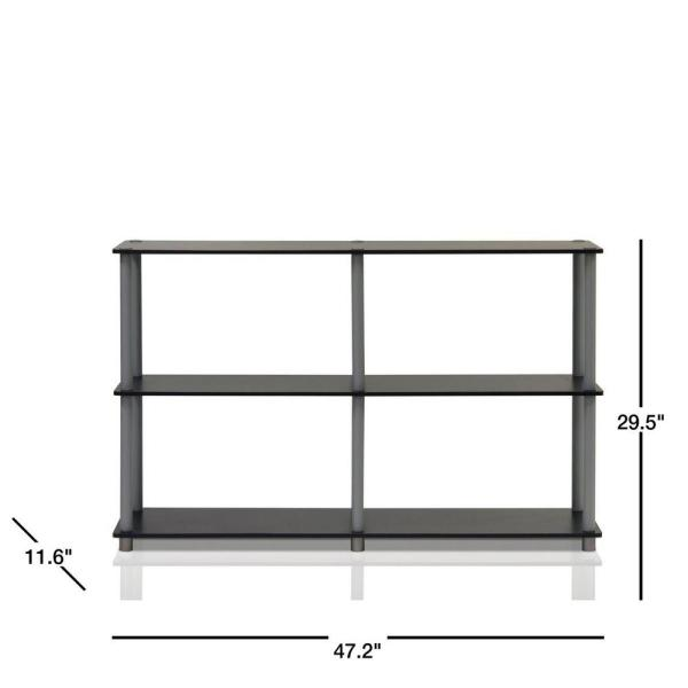 Double Bookcase Shelf Wood Wide 3 Shelves Open Storage Furniture Espresso Black