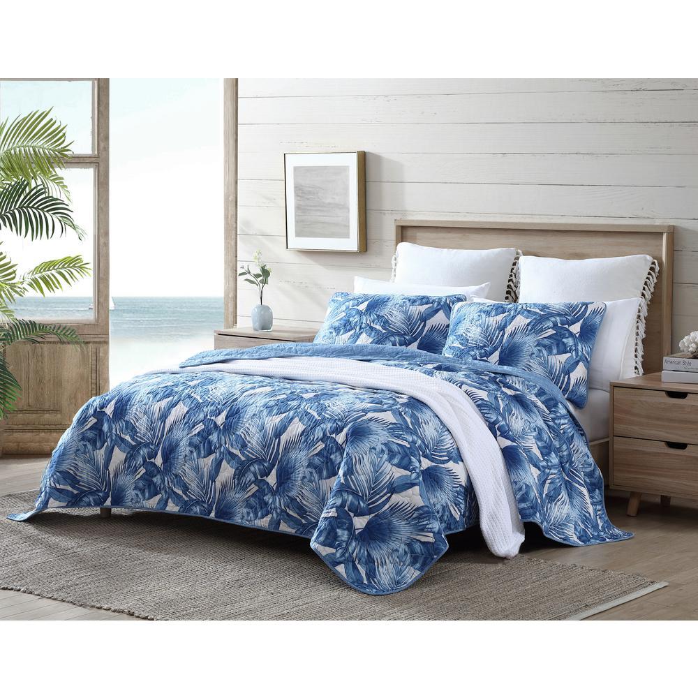 Royal Palm Blue 3-Piece Cotton Quilt/Sham Set, King