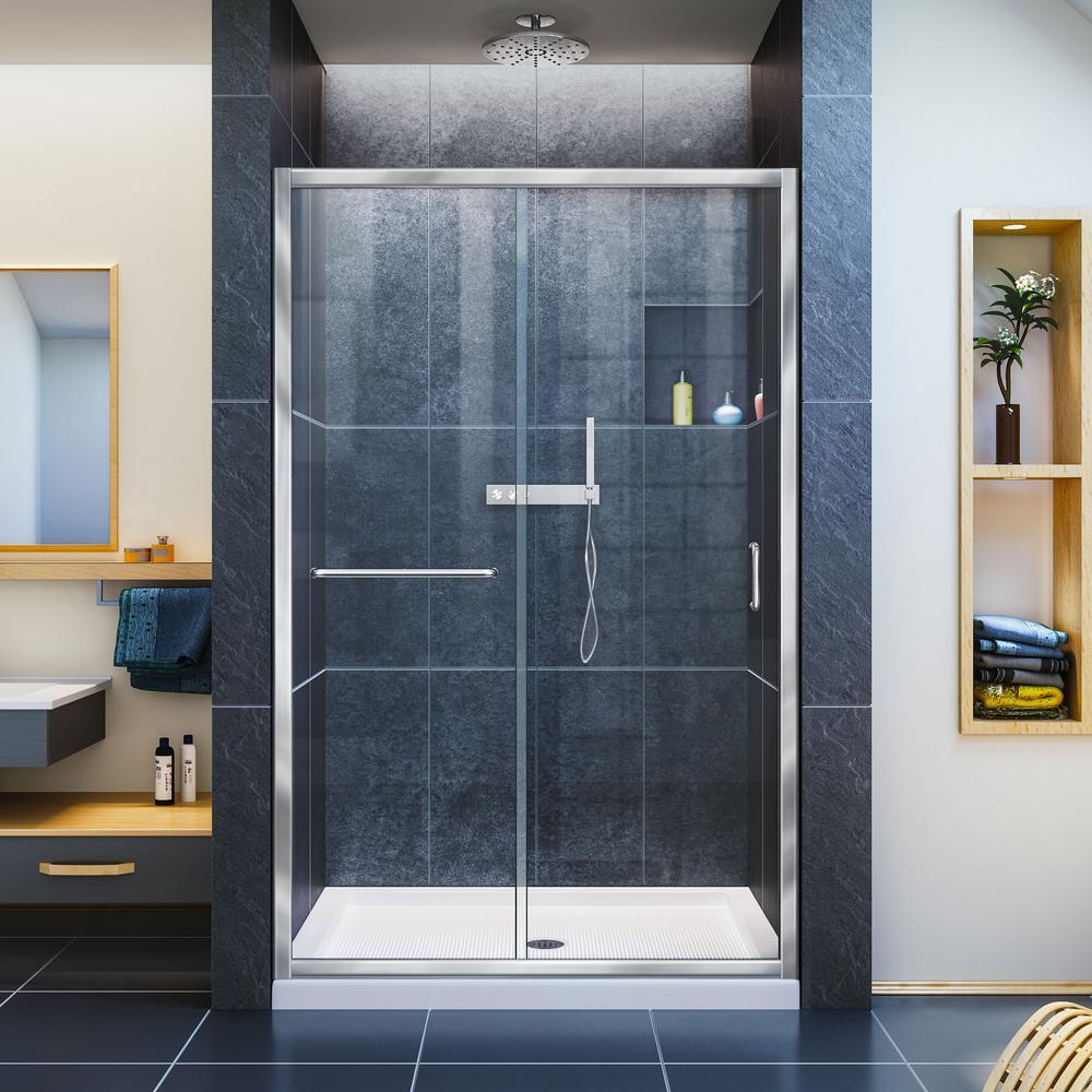 Infinity-Z 36 in. x 48 in. x 74.75 in. Framed Sliding Shower Door in Chrome with Center Drain White Acrylic Base