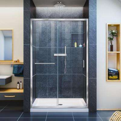 Infinity-Z 48 in. x 74-3/4 in. Framed Sliding Shower Door in Chrome with Center Drain Shower Base in Biscuit