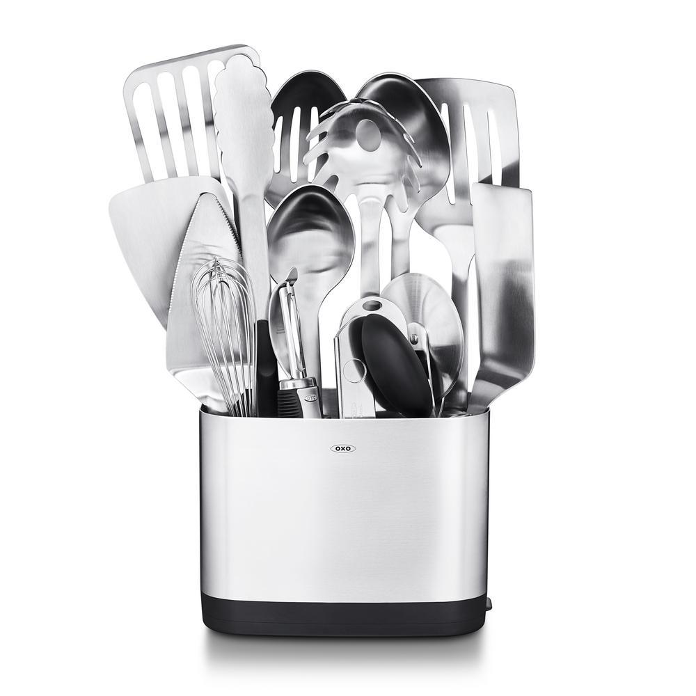 oxo steel kitchen utensil set set of 15 - Oxo Kitchen