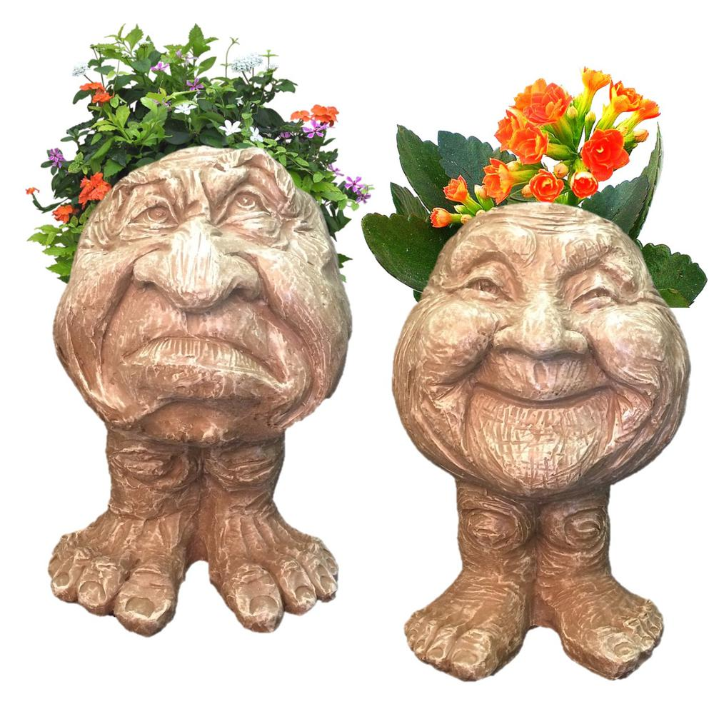 Stone Wash Grumpy and Granny Joy the Muggly Face Statue Planter