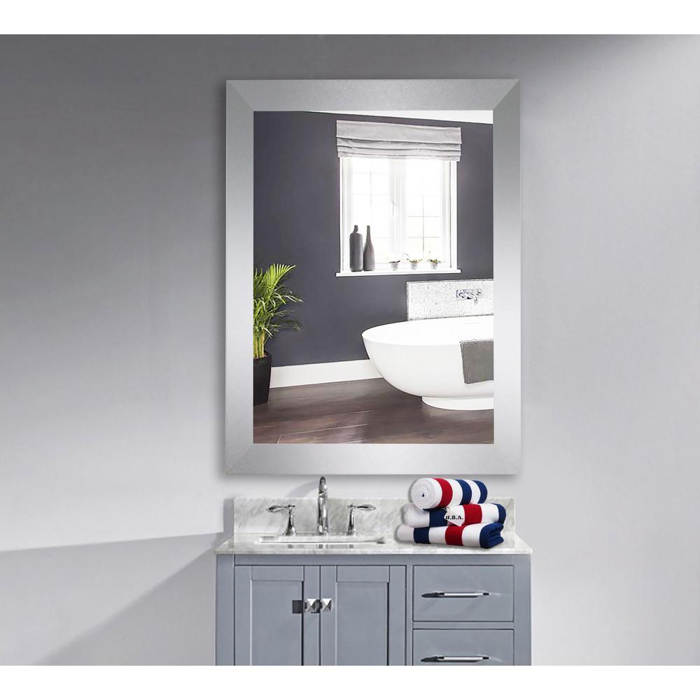 60 in. x 40 in. Elemental Jaded Platinum Framed Wall Vanity Mirror