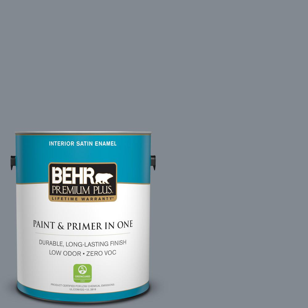 1 gal. #PPU26-21 Overcast Zero VOC Satin Enamel Interior Paint