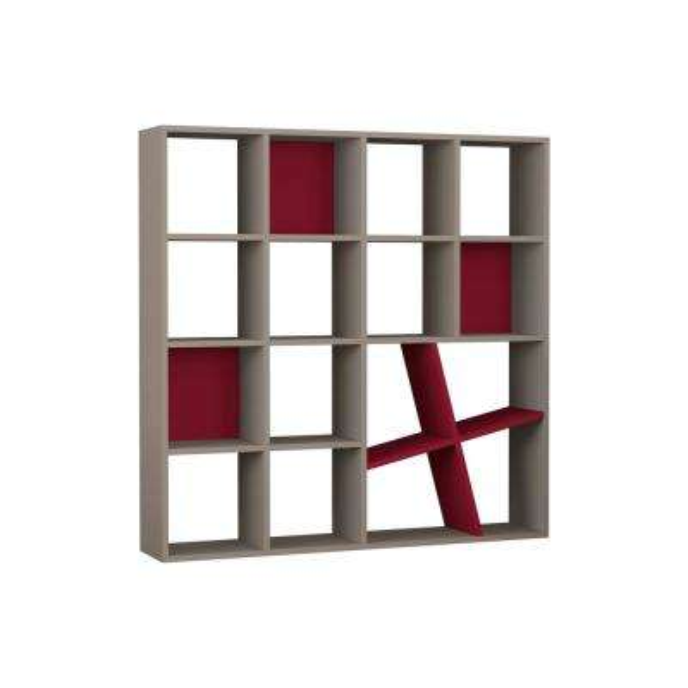 Brian Light Mocha and Burgundy Mid-Century Modern Bookcase