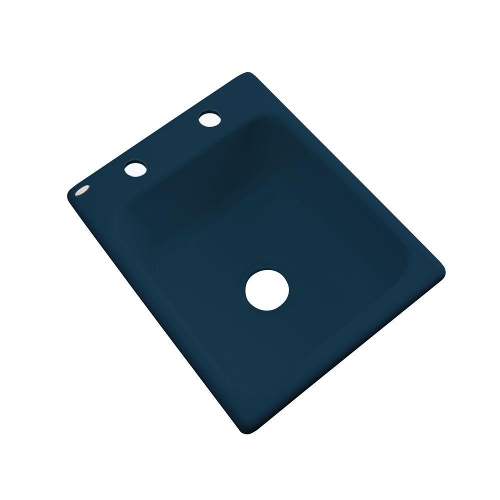 Thermocast Crisfield Drop-In Acrylic 17 in. 2-Hole Single Basin Prep Sink in Navy Blue