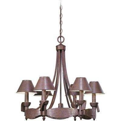 Lenor 6-Light Prairie Rock Incandescent Ceiling Chandelier with Gold Accents