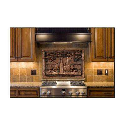 Wine Tasting 18.5 in. W x 14 in. H Stonecast Decorative Tile Backsplash in Copper