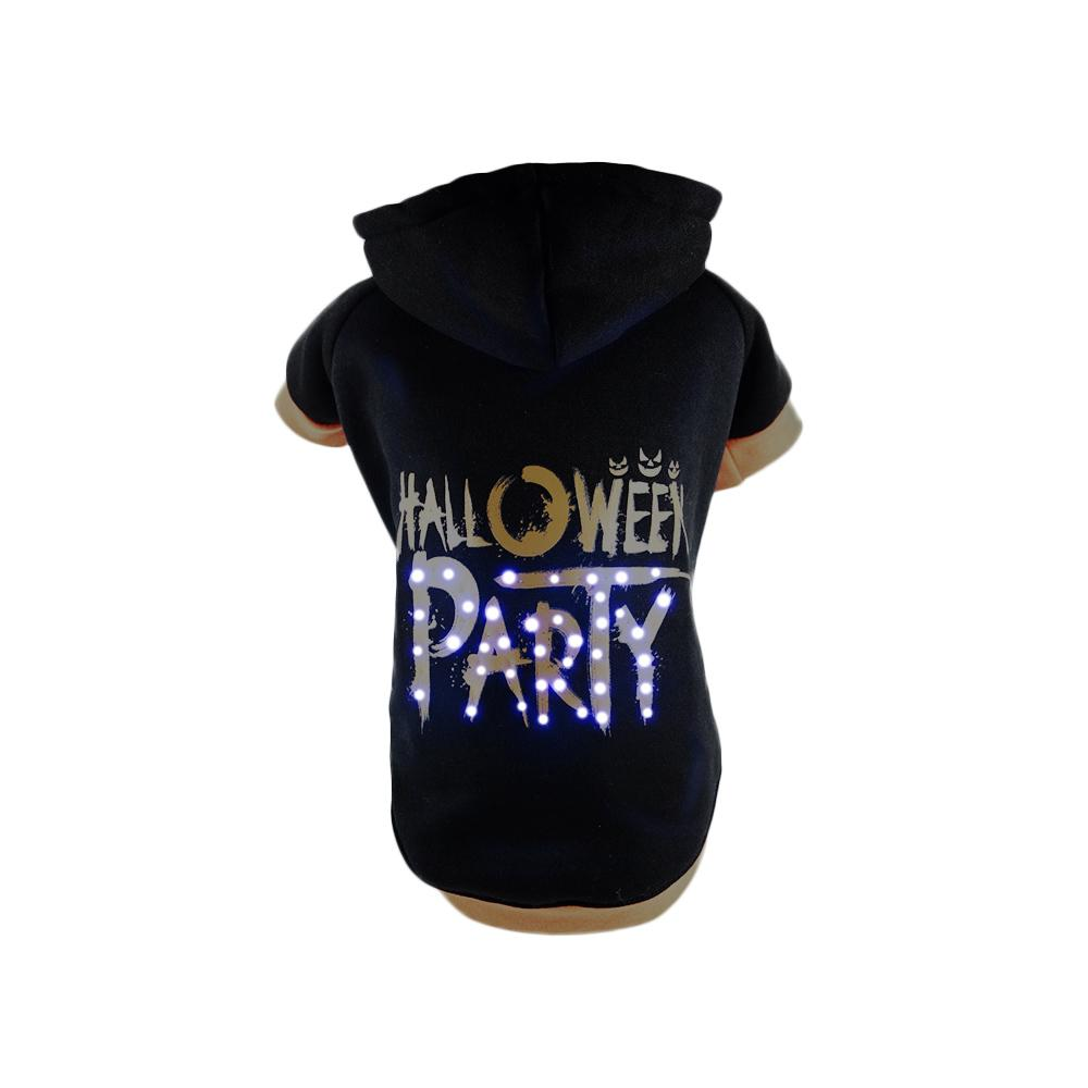 PET LIFE Large Black LED Lighting Halloween Party Hooded Sweater ...