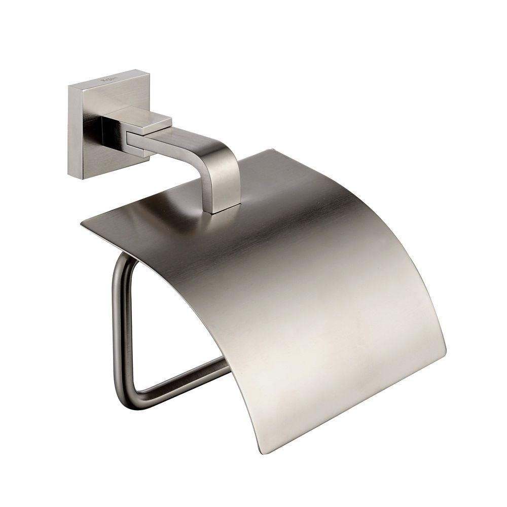 KRAUS Aura Single Post Bathroom Tissue Holder with Cover in Brushed Nickel