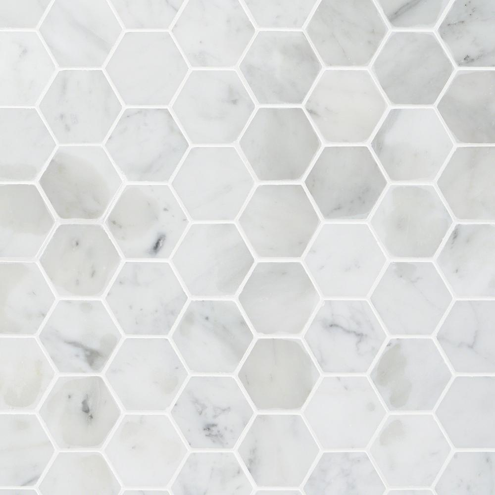 Ivy Hill Tile Hexagon White Carrera 12