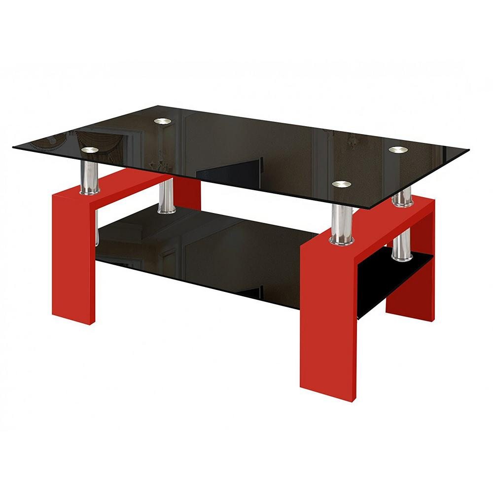Fab Gl And Mirror Modern Red Coffee Table With Shelf Contemporary Living Room