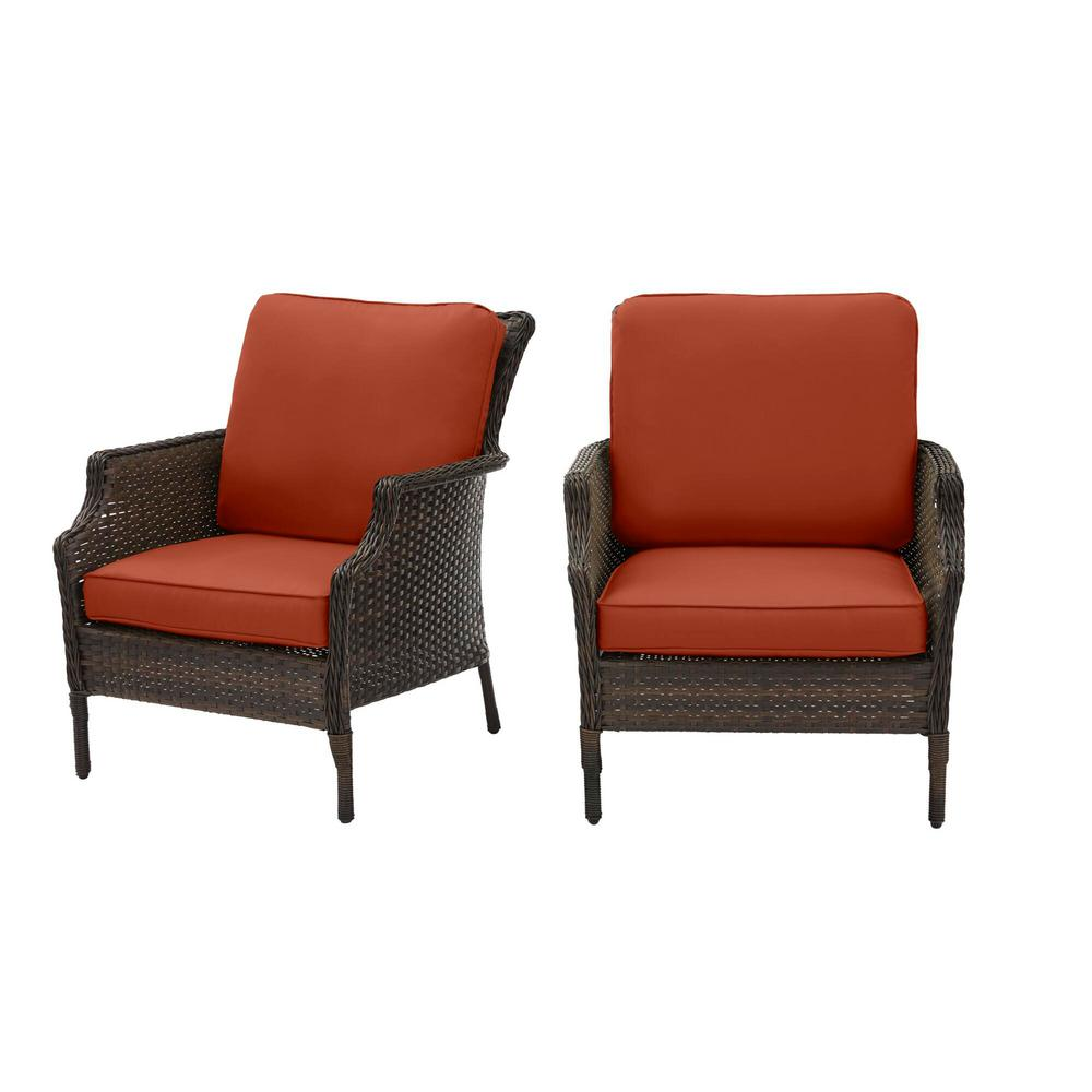 Hampton Bay Grayson Brown Wicker Outdoor Patio Lounge with CushionGuard Quarry Red Cushions (2-Pack) was $299.0 now $239.2 (20.0% off)
