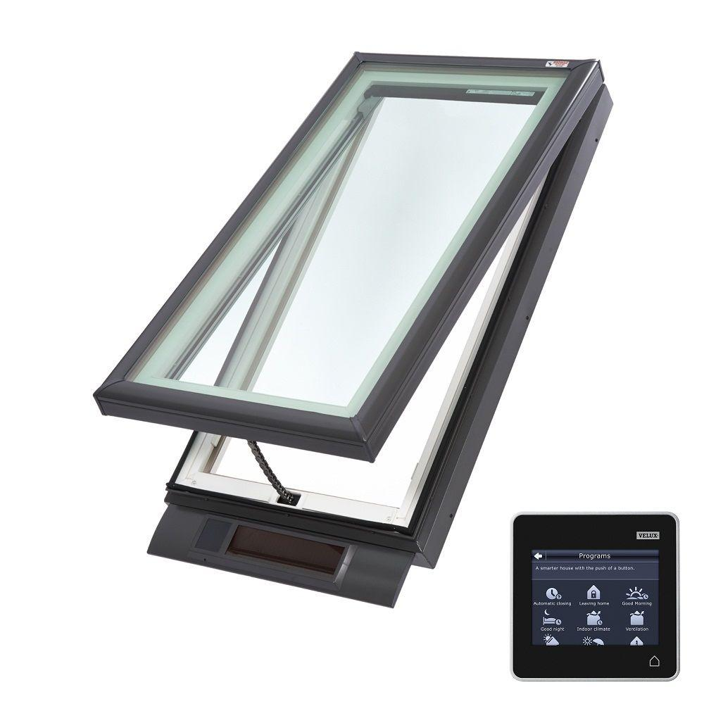 Velux 22 1 2 in x 46 1 2 in solar powered fresh air for Velux glass
