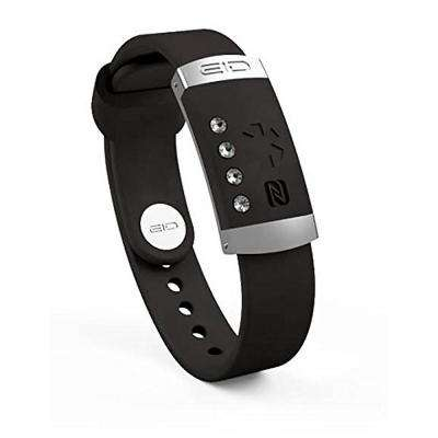 11 in. x 3.5 in. Medical Band in Black with Swarovski Crystals