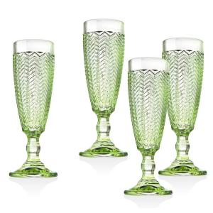 Twill Green Crystal Flutes (Set of 4)