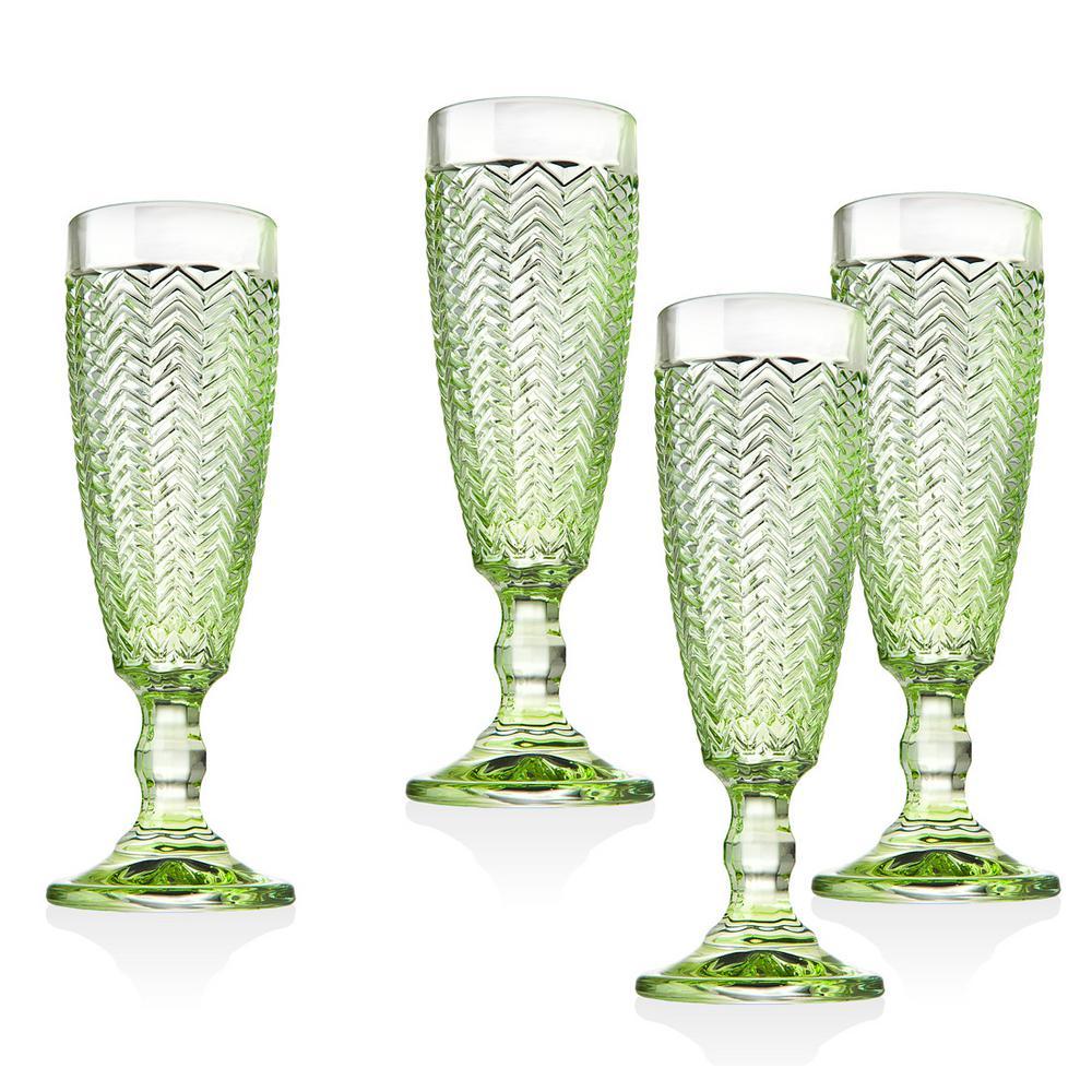 Twill Green Crystal Flutes (Set of 4)