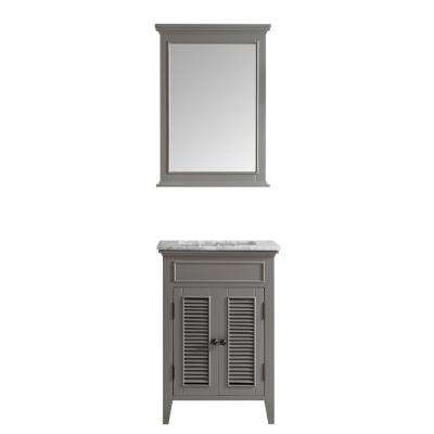Piedmont 24 in. W x 23 in. D x 35 in. H Vanity in Grey with Marble Vanity Top in White with Basin and Mirror