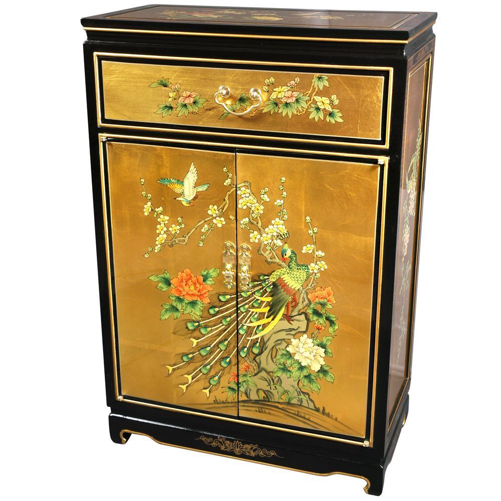 Oriental Furniture Gold Leaf Birds And Flowers Shoe Cabinet