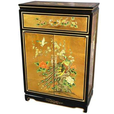 Oriental Furniture Gold Leaf Birds and Flowers Shoe Cabinet