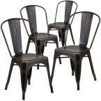Stackable Metal Outdoor Dining Chair in Copper