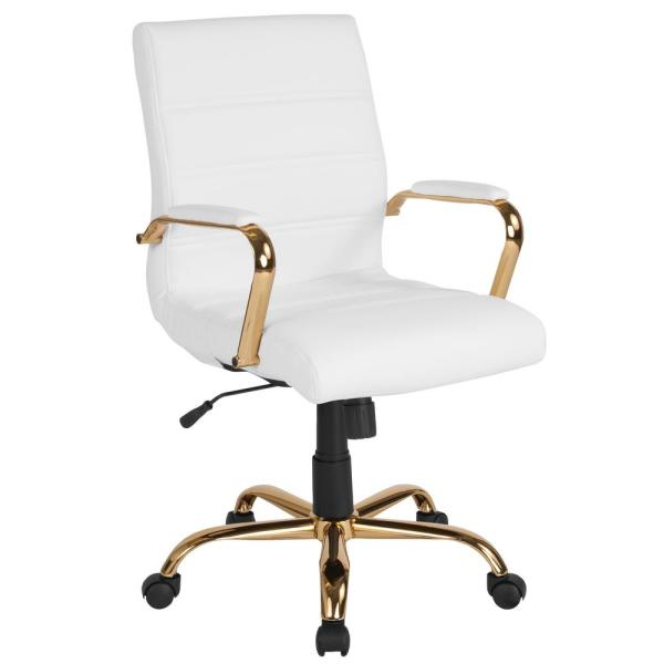 Flash Furniture White Leather/Gold Frame Office/Desk Chair ...