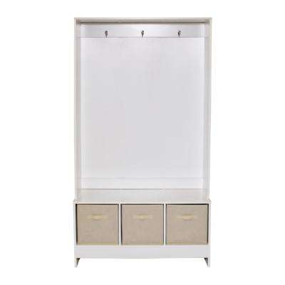 Riverside White Finish Storage Hall Tree