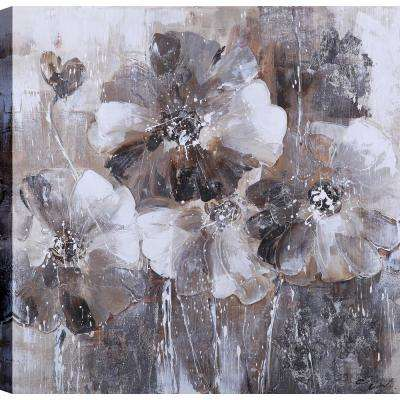 Black and White Flower Love Blossoms II, Floral Art, Unframed Canvas Print Wall Art 24X24 Ready to hang by ArtMaison.ca