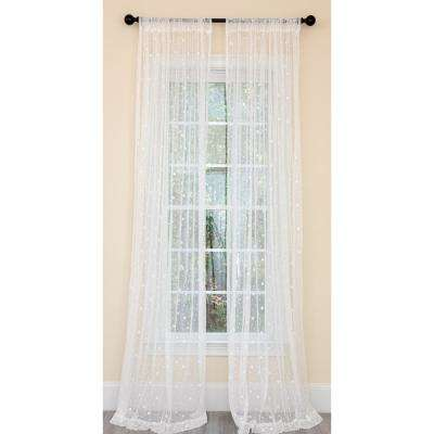 Snow Dots Sheer Single Rod Pocket Curtain Panel in White - 54 in. x 120 in.