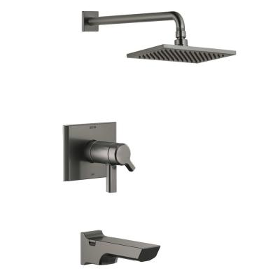 Pivotal TempAssure H2Okinetic 1-Handle Wall-Mount Tub and Shower Trim Kit in Black Stainless (Valve Not Included)
