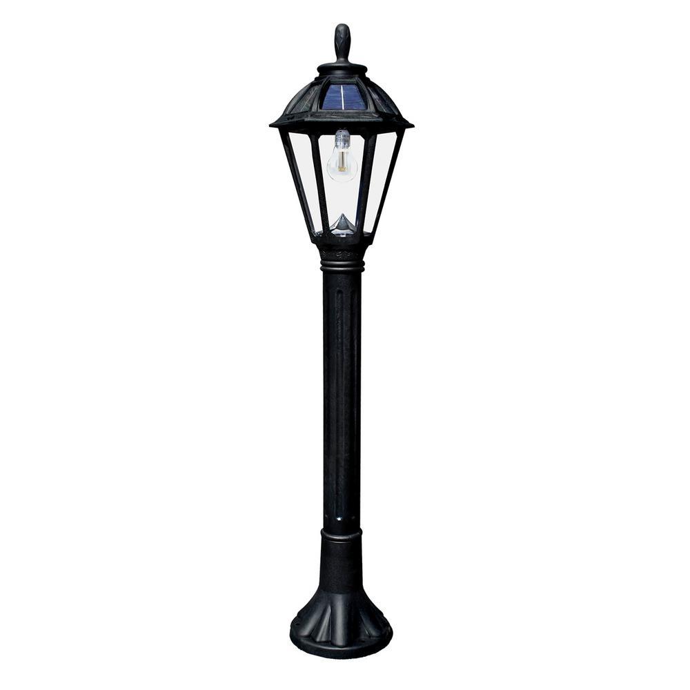 Polaris Solar Medium 1-Light Black Resin LED Outdoor Post Light and Bollard Lamp Post with Warm-White GS LED Bulb