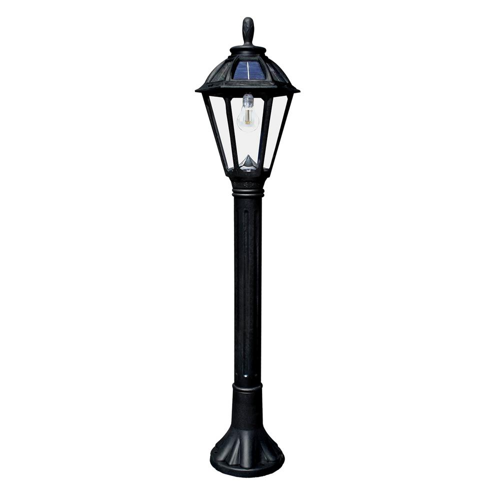 Gama Sonic Polaris Solar Medium 1-Light Black Resin LED Outdoor Post Light and Bollard Lamp Post with Warm-White GS LED Bulb