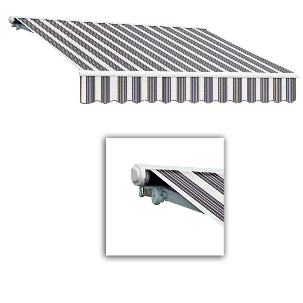 AWNTECH 12 ft. Galveston Semi-Cassette Right Motor with Remote Retractable Awning (120 in. Projection) in Navy/Gray/White