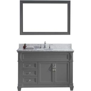 Virtu USA Victoria 48 inch W x 22 inch D Vanity in Grey with Marble Vanity Top in White with White Basin and Mirror by Virtu USA